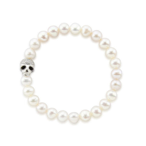 "7.0-8.0mm High Luster White Freshwater Cultured Pearl Bracelet 8.0"" with Skull bead 02"