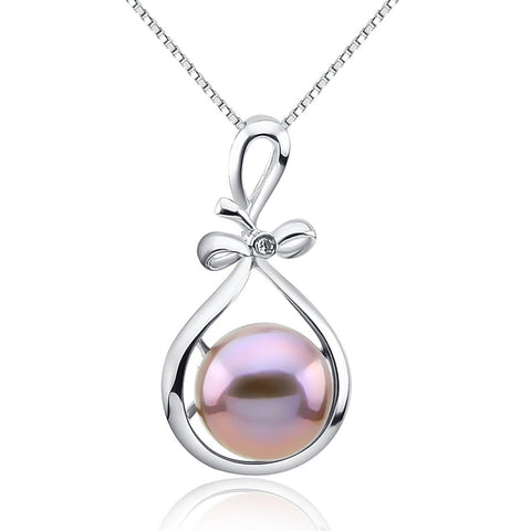 Fascinating Color 12-13mm-Dark Purple Freshwater Cultured Pearl Pendant- Sterling Silver Ribbon Style