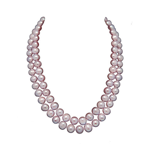 "2-row Lavender A Grade Freshwater Cultured Pearl Necklace (9.0-10.0mm), 17"", 18.5"""