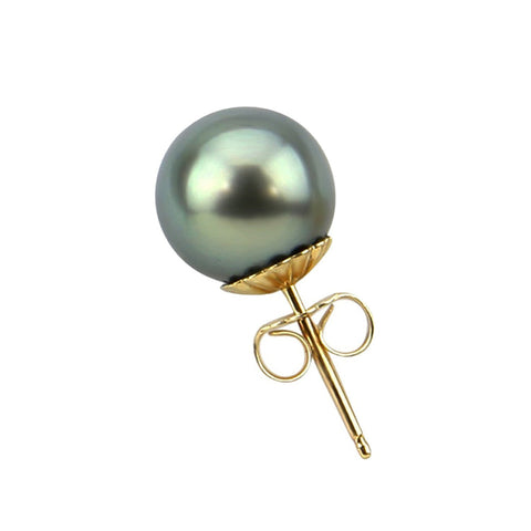 Single earring -14K Yellow Gold 8.0-9.0mm Tahitian Cultured Pearl Single Stud Earring - AAA Quality