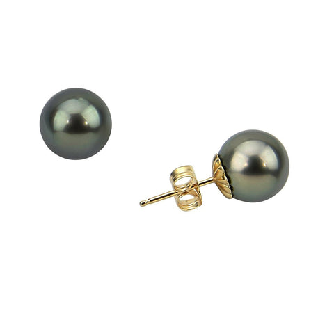 14K Yellow Gold 11-12mm Elegant Dark Grey Tahitian Cultured Pearl Stud Earrings - AAA Quality