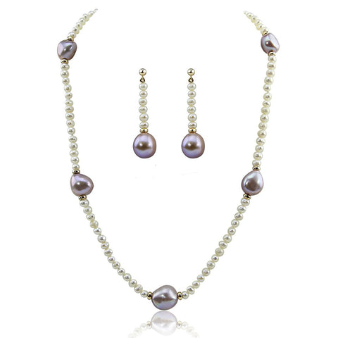 "14k Yellow Gold 11-13mm Lavender, 4-5mm White Baroque Freshwater Cultured Pearl Necklace 16"", earring set"