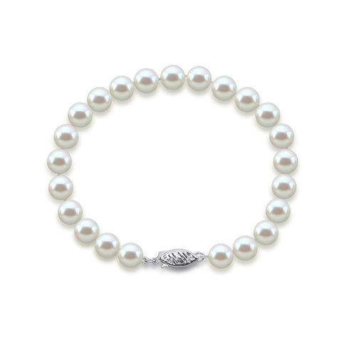 "14K White Gold 8.0-9.0mm White Freshwater Cultured Pearl Bracelet 7.5"" Length - AAA Quality"
