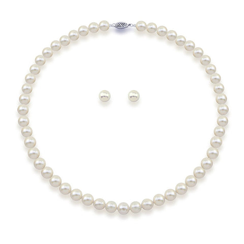 "14K White Gold 7.0-8.0mm White Freshwater Cultured Pearl Necklace 20"" and Earrings Set, AAA Quality"