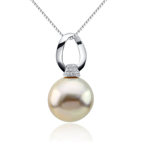 Fascinating Color-12-13mm Peach Freshwater Cultured Pearl Pendant- Sterling Silver