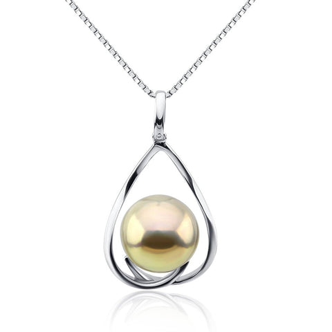 Fascinating Color 12-13mm Light Golden Freshwater Cultured Pearl Pendant- Sterling Silver