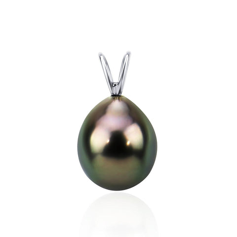 14K White Gold 8.0-9.0mm AAA Quality Black Tahitian Cultured Pearl Pendant, Pendant Only