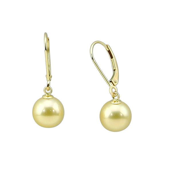 14k Yellow Gold 9.0-10.0mm Golden South Sea Cultured Pearl Lever-back Earrings-01- AAA Quality