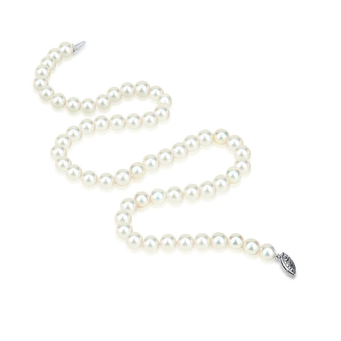 "14k White Gold 8-9mm White Freshwater Cultured Pearl Necklace 18"" Princess Length"