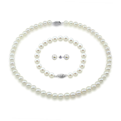 "14K White Gold 8.0-9.0mm White Freshwater Cultured Pearl Necklace 17"", Bracelet, and Earrings-AAA Quality"