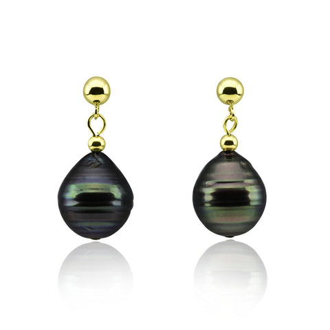 11-12mm High Luster Baroque Tahiti Cultured Pearl Earrings