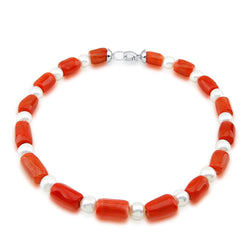 10-11mm Freshwater Cultured Pearl and Red Coral necklace 18""
