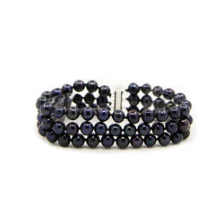 3-Row Black A Grade 6.5-7.0 mm Freshwater Cultured Pearl Bracelet With Base Metal Clasp, 7.5""