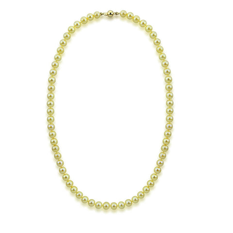 "14k Yellow Gold 7.0-7.5mm Golden Akoya Cultured Pearl High Luster Necklace 20"", AAA Quality."