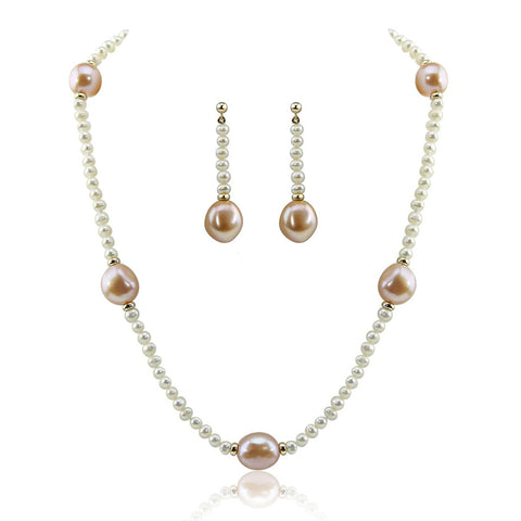 "14k Yellow Gold 11-13mm Pink, 4-5mm White Baroque Freshwater Cultured Pearl Necklace 16"" and earring sets"
