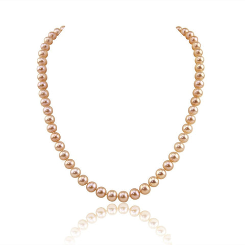 "14K Yellow Gold 7.0-8.0mm Metallic Pink Freshwater Cultured Pearl Necklace, 18"" Length - AAA Quality"