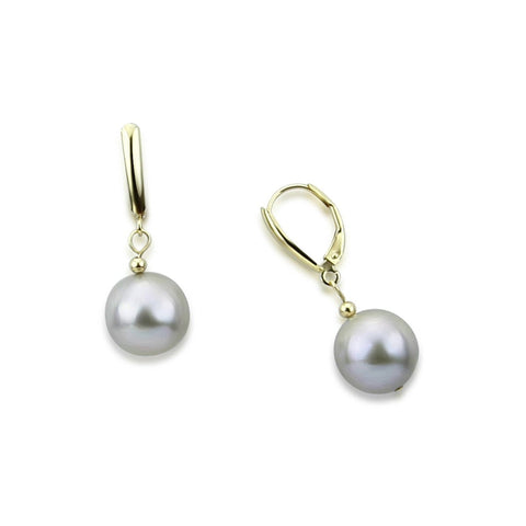 14k Yellow Gold 13.0-14.0mm Round Grey High Luster Freshwater Cultured Pearl Lever-back Earrings- 02