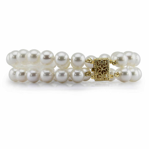 "14K Yellow Gold 8.0-9.0mm 2 Row White Freshwater Cultured Pearl Bracelet 7.5"" Length - AAA Quality"