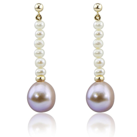 14K Yellow Gold 4-5mm white,13-14 mm Lavender Baroque Freshwater Cultured Pearl dangle Earring