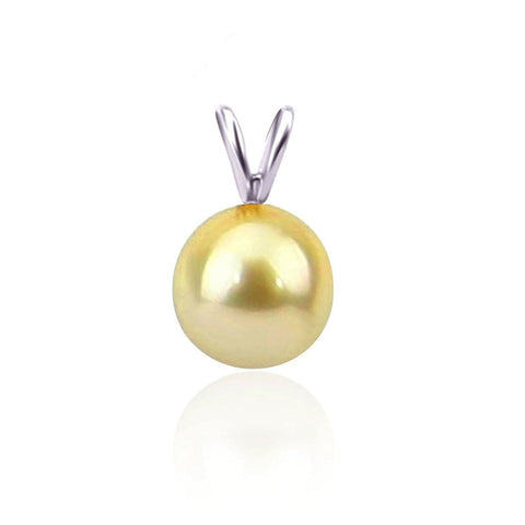 14K White Gold 9-10mm AAA Quality Golden South Sea Cultured Pearl Pendant, Pendant Only