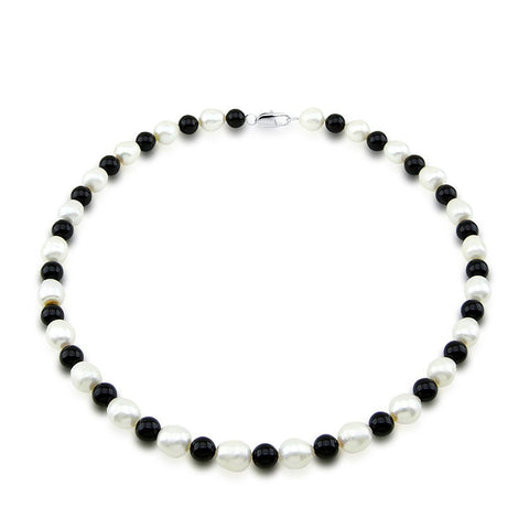 "Classic 10-11mm White Freshwater Cultured Pearl and Black Onyx Necklace 20"", Base Metal Clasp"