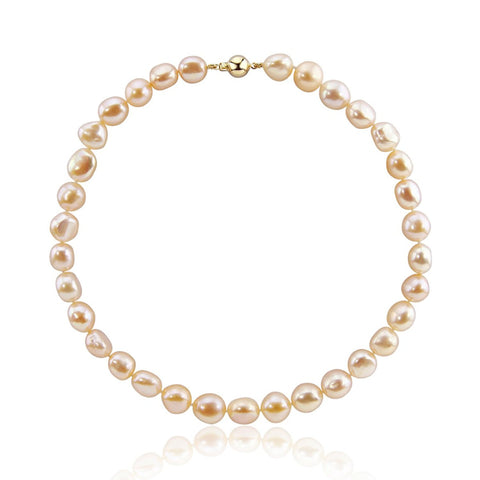 14K Yellow Gold 11.0-13.0mm Extra Luster Pink Baroque Freshwater Cultured Pearl necklace 20""