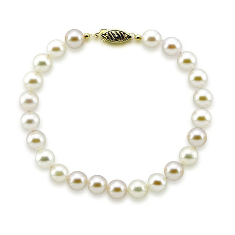 14K Yellow Gold 7.0-7.5mm White Akoya Cultured Pearl Bracelet 7.5""