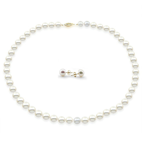 "14k Yellow Gold 8-9mm White Freshwater Cultured Pearl Necklace 18"" Length and Earring Set"