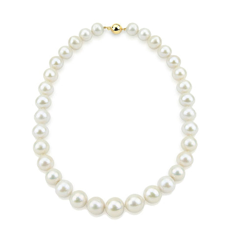 14K Yellow Gold 11-14mm High Quality White Freshwater Cultured Pearl Necklace 18 Inches
