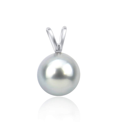 14K White Gold 9.0-10.0mm AAA Quality Grey Tahitian Cultured Pearl Pendant, Pendant Only