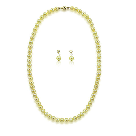 "14k Yellow Gold 6.0-6.5mm Golden Akoya Cultured Pearl High Luster Necklace 20"",Earring Sets, AAA Quality."