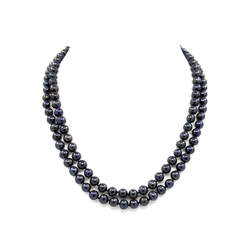 "2-row Black A Grade Freshwater Cultured Pearl Necklace(6.5-7.5mm), 18.5"", 19.5"""