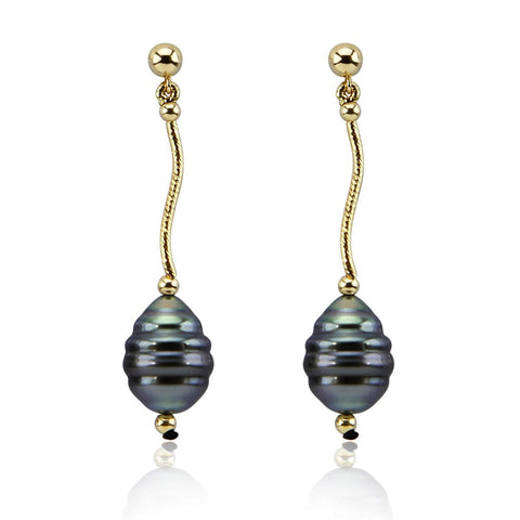 14K Yellow Gold 10.0-11.0mm High Luster Baroque Tahiti Cultured Pearl dangle Earring