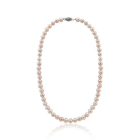 "8-9mm Lavender Hand-pick Genuine Freshwater Cultured Pearl High Luster Necklace 18"", Base metal Clasp"