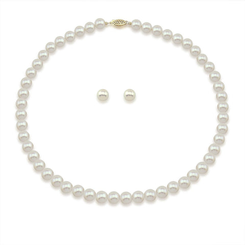 "14K Yellow Gold 8.0-9.0mm White Freshwater Cultured Pearl Necklace 17"" and Earrings Set, AAA Quality"