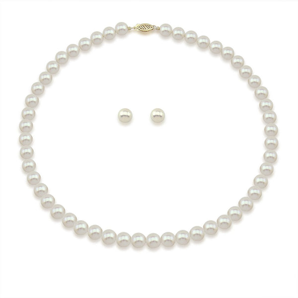 "14K Yellow Gold 7.0-8.0mm White Freshwater Cultured Pearl Necklace 20"" and Earrings Set, AAA Quality"