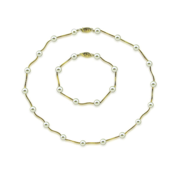 "14K Yellow Gold 7.0-7.5mm White Akoya Cultured Pearl Station Necklace 18"" and Bracelet 7.5"" sets"