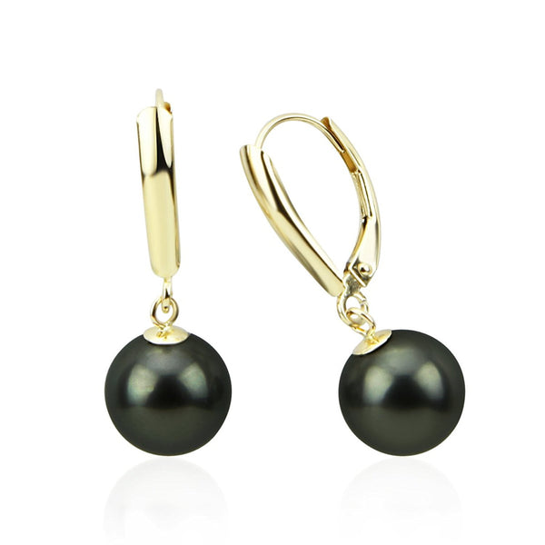 9.0-10.0mm High Luster Perfect Round Tahitian Cultured Pearl Lever-back Earrings-01
