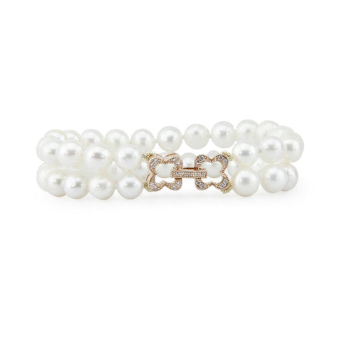 2 Row 7.0-8.0mm High Luster White Freshwater Cultured Pearl Bracelet 7.5""