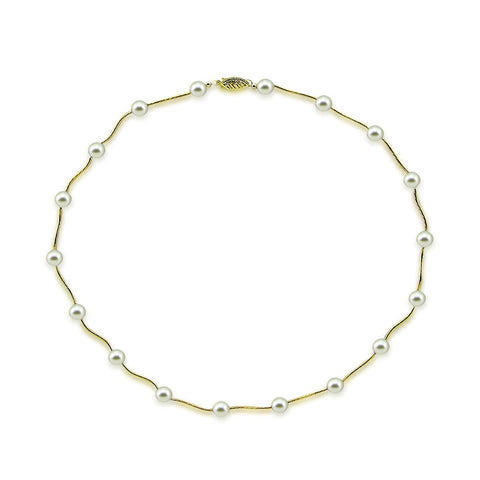 14K Yellow Gold 7.0-7.5mm White Akoya Cultured Pearl Station Necklace 18""