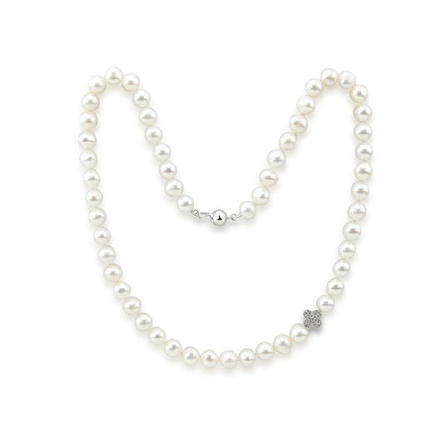 "7.0-8.0mm High Luster White Freshwater Cultured Pearl necklace 18"" with Four leaf flower"