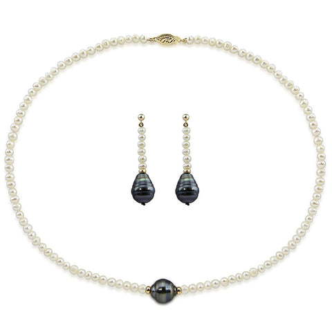 "14k Yellow Gold 11-12mm,4-5mm Tahitian Cultured pearl,Freshwater Cultured Pearl Necklace 16"" earring sets"