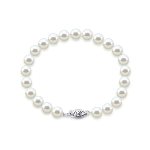 "14K White Gold 7.0-8.0mm White Freshwater Cultured Pearl Bracelet 8.5"" Length - AAA Quality"