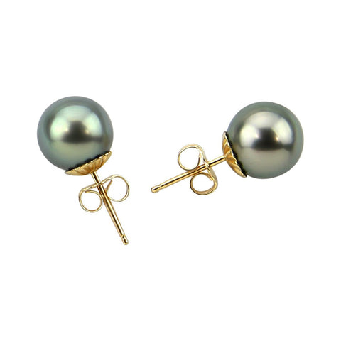 14K Yellow Gold 9-10mm Tahitian Cultured Pearl Stud Earrings - AAA Quality