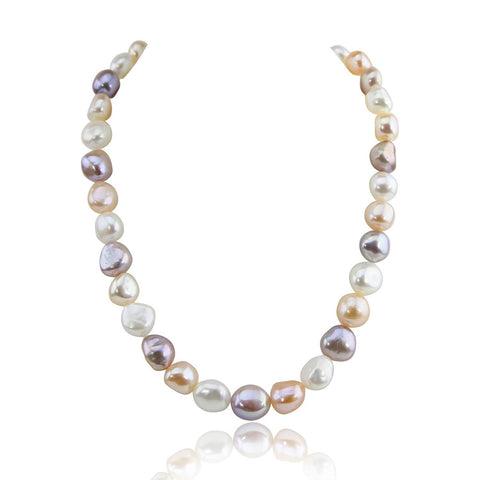14K White Gold 10.0-13.0mm Extra Luster Multi Color Baroque Freshwater Cultured Pearl necklace 20""