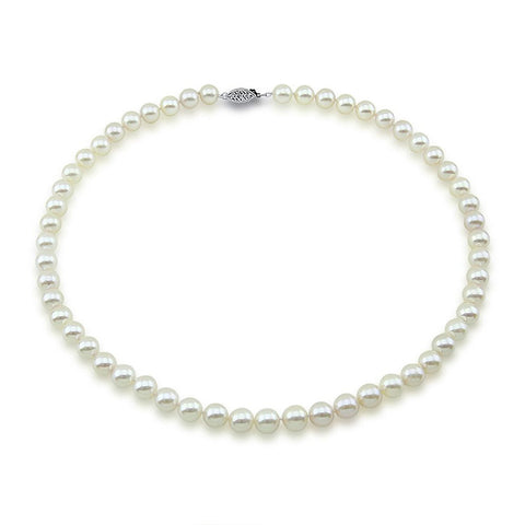 14K White Gold 6.0-6.5mm White Akoya Cultured Pearl Necklace - AA+ Quality, 18 Inch Princess Length