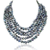5 row High Luster Black Freshwater Cultured Pearl necklace with mother of pearl base metal clasp