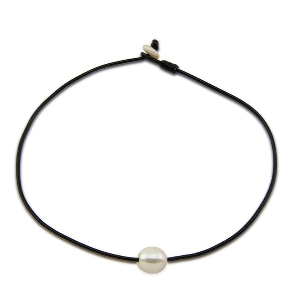 12-13mm White Freshwater Cultured Pearl Necklace with Leather,20""