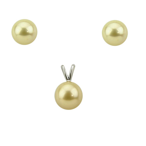 14K White Gold 9-10mm Golden South Sea Cultured Pearl Stud Earrings and Pendant Sets - AAA Quality