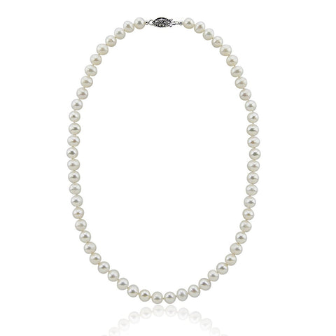 "8-9mm White Freshwater Cultured Pearl Necklace 20"" Length Princess Length"